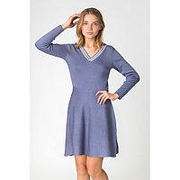 Платье вязаное V-вырез, р.42, цв. серо-голубой, 65% хлопок, 35% п/э