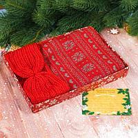 """Подарочный набор: теплый шарф и повязка со свитком """"Счастливого Нового Года!"""""""