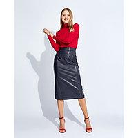 """Юбка женская MINAKU """"Leather look"""", длина миди, размер 42, цвет синий"""