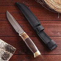Нож охотничий, рукоять дерево, с золотым кольцом, лезвие 15 см