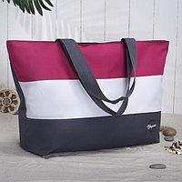 Сумка пляжная, отдел на молнии, без подклада, цвет серый/белый/розовый