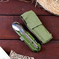 Набор туриста 5в1 в чехле: штопор, открывалка, нож, ложка, вилка
