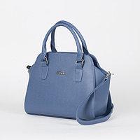 Сумка женская, отдел на молнии, длинный ремень, наружный карман, цвет синий