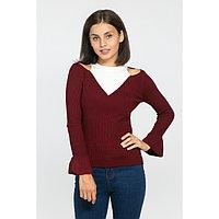 Джемпер вязаный с открытыми плечами, размер 42, цвет бордо