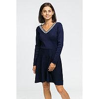 Платье вязаное V-вырез, размер 42, цвет тёмно-синий
