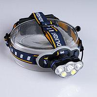 "Фонарь налобный, аккумуляторный ""Мастер К"", 3 LED, 2 COB, usb, 2 аккумуляторных батареи"