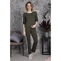Костюм женский (джемпер, брюки), цвет хаки, размер 42