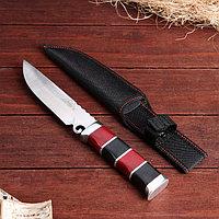 Нож охотничий Мастер К, 25 см, в чехле, полосы на рукояти