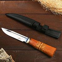 Нож охотничий Мастер К, лезвие 14 см, в чехле, деревянная рукоять с пробковой вставкой