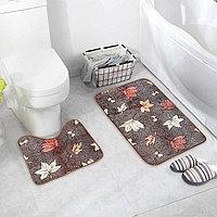 """Набор ковриков для ванны и туалета 2 шт 40х50, 50х80 см """"Осенние листья"""""""