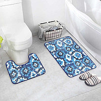 Набор ковриков для ванны и туалета «Голубые цветы», 2 шт: 40×50, 50×80 см