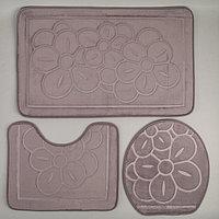 Набор ковриков для ванны и туалета, 3 шт: 36×43, 40×50, 50×80 см, цвет серый