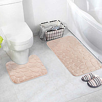 Набор ковриков для ванны и туалета «Камни», объёмные, 2 шт: 40×50, 50×80 см, цвет бежевый
