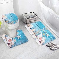 Набор ковриков для ванны и туалета «Ракушки», 3 шт: 37×45, 37×45, 45×75 см