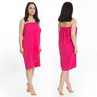 Килт(юбка) женский махровый с вышивкой 80х150см, малиновый