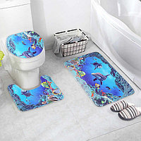 "Набор ковриков для ванны и туалета 3 шт 35х39, 40х50, 45х75 см ""Дельфин"""