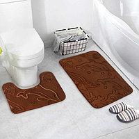 Набор ковриков для ванны и туалета «Дельфины», 2 шт: 40×50, 50×80 см, цвет МИКС