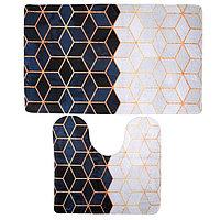 Набор ковриков для ванны и туалета «Геометрия», 2 шт: 40×45, 45×75 см, цвет чёрно-белый