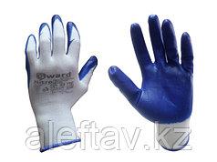 Перчатки плотные с залитым нитриловым материалом наладонником.