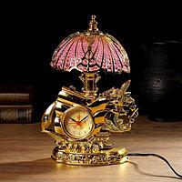"""Часы будильник """"Корабль с чайками"""" с светильником, микс, 27х19 см"""