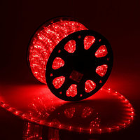 LED шнур 11 мм, круглый, 100 м, фиксинг, 2W-LED/м-24-220V, в компл. набор д/подкл, КРАСНЫЙ