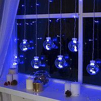 """Гирлянда """"Бахрома"""", 2.4 х 0.7 м, """"Шарики"""", LED-108-220V, 8 режимов, нить прозрачная, свечение синее"""