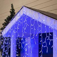 """Гирлянда """"Бахрома"""" уличная, УМС, 3 х 0.9 м, 2W Каучук LED(IP65)-232-220V, нить белая, свечение синее"""