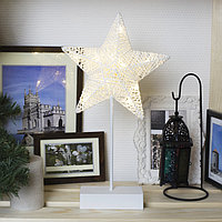 "Фигура на подставке световая ""Звезда плетеная"", 22 х 22 см, 10 LED, 3хАА (не в компл.)"