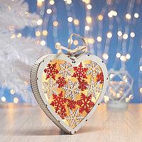 """Фигура деревянная """"Сердце Снежинки"""", 19х19х3.5 см, 2*AA (не в компл.) 5 LED, белое"""