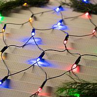 """Гирлянда """"Сеть"""" на елку с кольцом, диаметр 1,5 м, LED-204-220V, 8 режимов, нить тёмная, свечение мульти"""