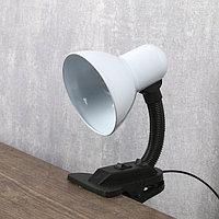Лампа настольная Е27, с выкл. на зажиме (220В) белая 26х13х11