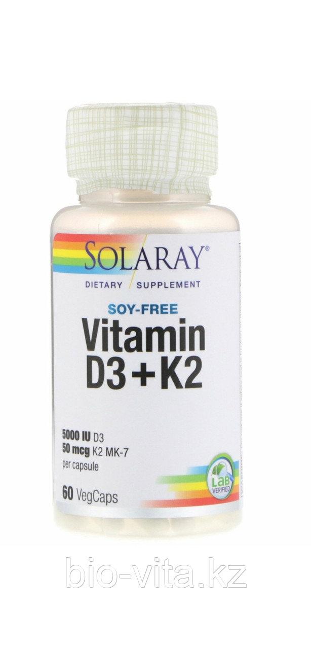Solaray, Витамин D3 (5000 IU )+ K2 50 mcg(МК-7) 60 капсул.