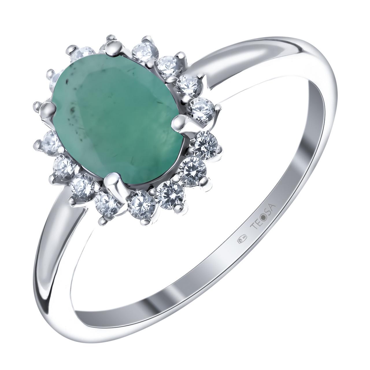 Кольцо из серебра с натуральным изумрудом