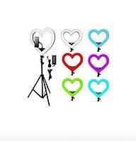 "Кольцевая лампа на штативе ""Сердце"" 4 вида подсветки 40 см"