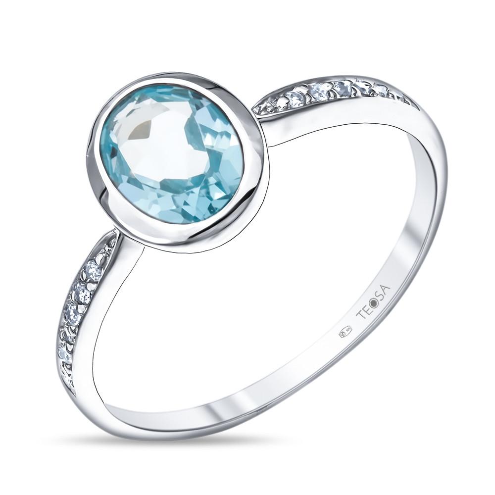 Кольцо из серебра с натуральным топазом и фианитом
