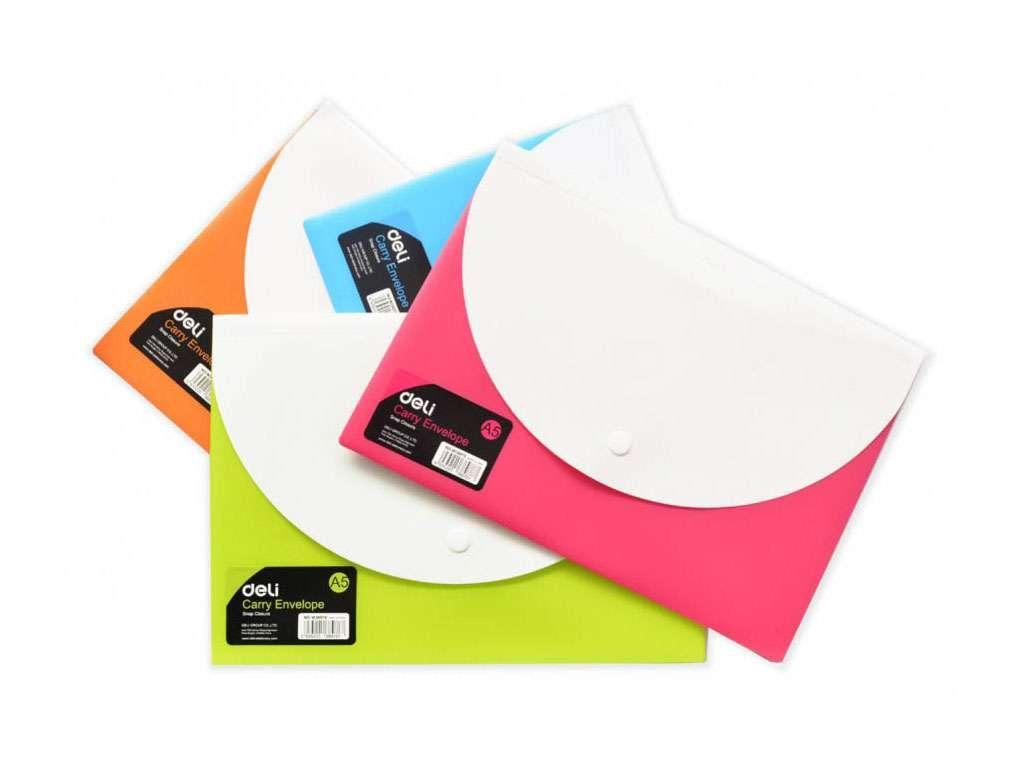 Папка-конверт на кнопке DELI с карманом, А5, 0,18 мм, ассорти