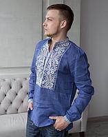 Вышиванка мужская Хлебороб лён Длинный Рукав синий джинс