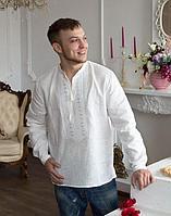 Вышиванка мужская Черниговец лён Длинный Рукав белый