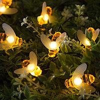 """Гирлянда """"Нить"""", уличная на солнечной батарее с насадками """"Пчелка"""", 4,5 м, Н.Т. LED-30, нить тёмная, свечение тёплое белое"""