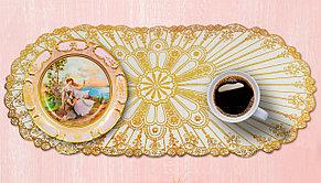 Овальная салфетка с золотым декором 83х40 см, фото 2