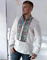 Вышиванка мужская Квиткова лен белый Длинный Рукав