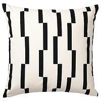Чехол на подушку,КИННЕН белый, черный, 50x50 см ИКЕА, IKEA, фото 1