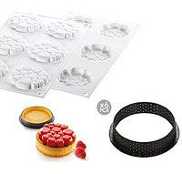 "Набор силиконовая форма + форма для выпечки ""Kit tarte ring PARADIS"" Ø80мм*6шт, Silikomart"
