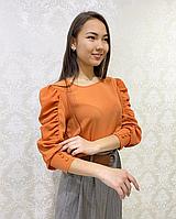 Стильная блузка терракотового цвета