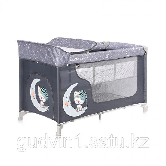 Кровать-манеж Lorelli MOONLIGHT 2  Серый / Grey CUTE MOON 2070