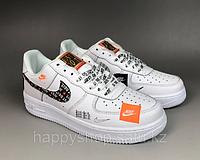 "Кроссовки Nike Air Force 1'07 Premium Just Do It"" White размеры 36-45"