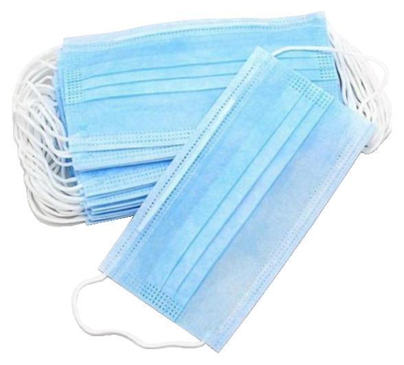 Маска одноразовая защитная 3х слойная на резинках