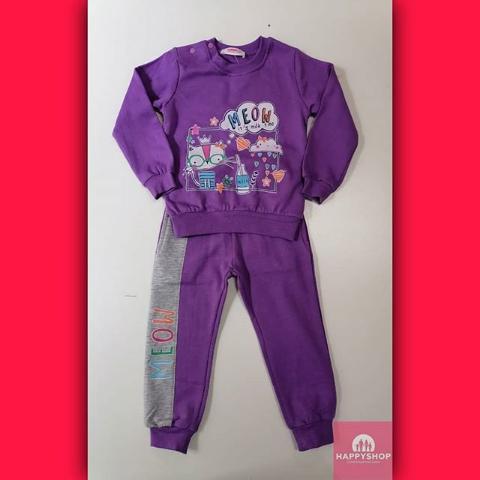 Детский спортивный костюм фиолетовый с принтом