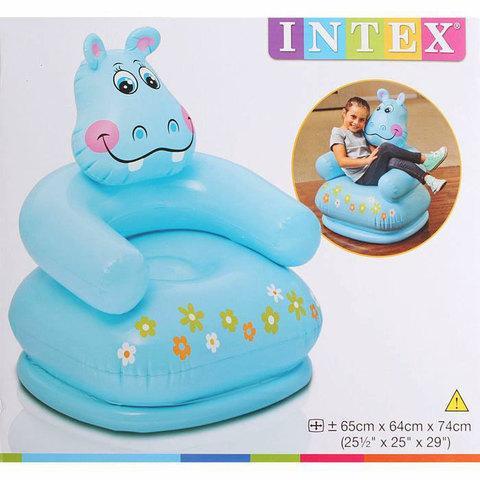 Кресло надувное детское «Весёлая зверушка» INTEX 68556 (Бегемот)