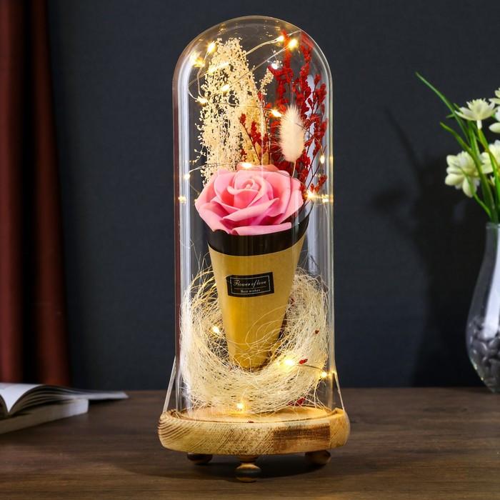 """Лампа настольная LED """"Розовая роза в букете"""" 3ААА 10х10х21 см."""